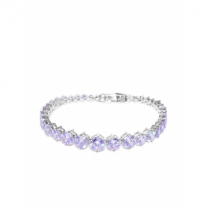 Carlton London Lavender & Silver-Toned Rhodium-Plated CZ Studded Party Bracelet