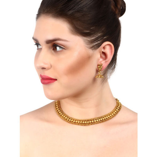 Adwitiya Collection Gold-Plated Copper Antique Necklace