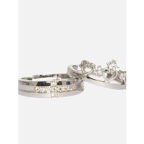 Ferosh shaze Women Rose Gold-Toned Set Of 2 CZ-Studded Finger Ring