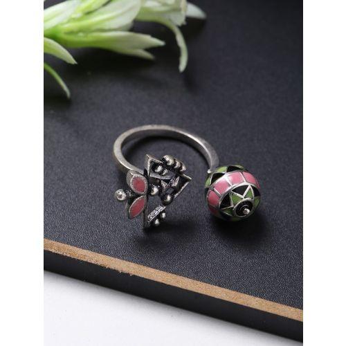 Studio Voylla Voylla Women Multi Coloured Floral Finger Ring