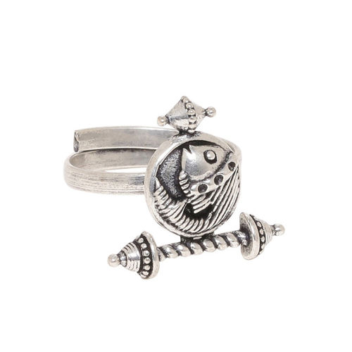 Studio Voylla Women Oxidised Silver-Plated Adjustable Finger Ring