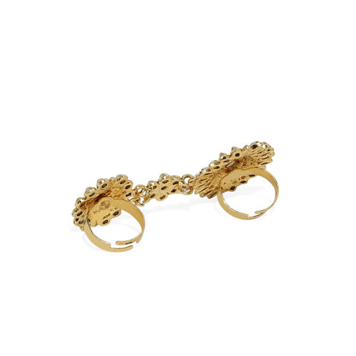 Zaveri Pearls Women Antique Gold-Toned Textured Adjustable Ring