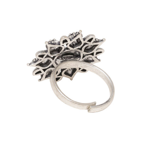 Studio Voylla Women Oxidised Silver-Plated Adjustable Finger Ring