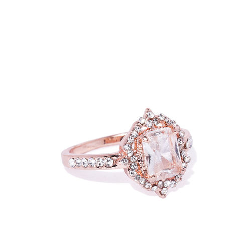 Buy Oomph Gold Plated Solitaire Cubic Zirconia Engagement Ring Online Looksgud In