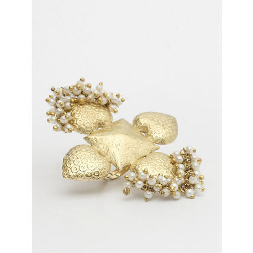 AKS Women Gold-Plated Abstract-Shaped Cocktail Handcrafted Ring