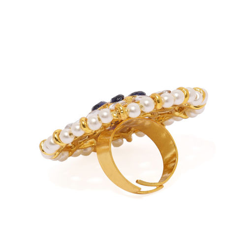 Zaveri Pearls Gold Toned Kundan & Pearls Circular Adjustable Finger Ring