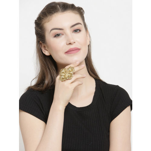 SASSAFRAS Women Gold-Plated Floral-Shaped Cocktail Handcrafted Ring