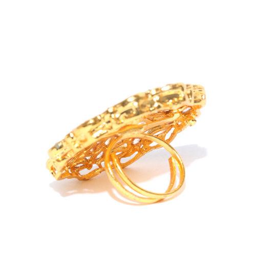 Priyaasi Gold-Plated Kundan Adjustable Ring