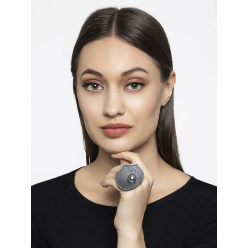 Mali Fionna Women Silver-Toned Stone-Studded Adjustable Finger Ring