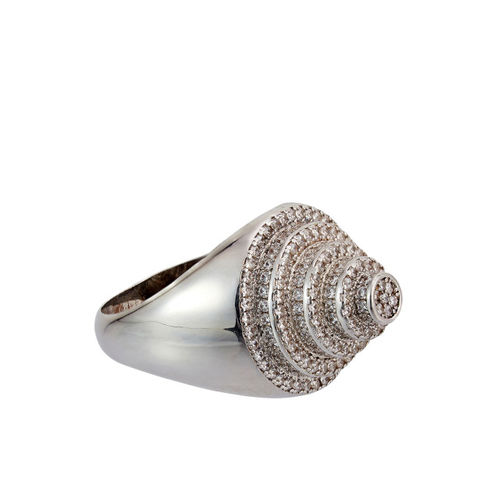shaze Women Silver-Plated CZ-Studded Finger Ring