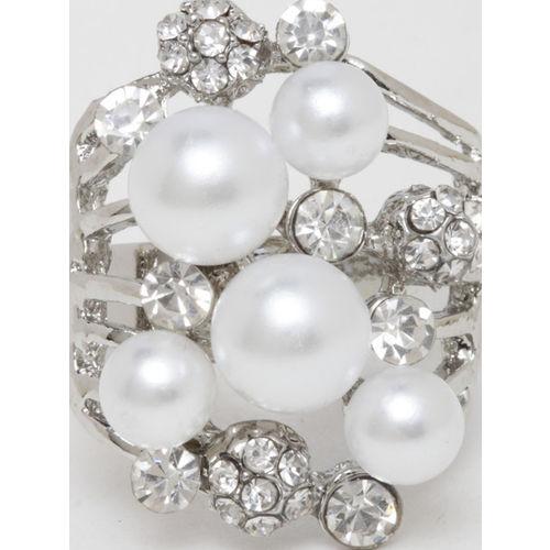 DIVA WALK Women Silver-Plated & White Stone-Studded Adjustable Finger Ring