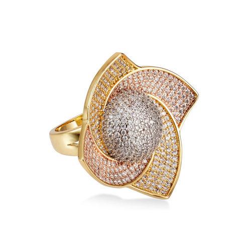shaze Women Gold-Plated CZ-Studded Ring