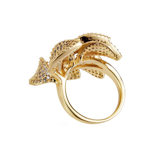 shaze Women Gold-Plated CZ-Studded Ring
