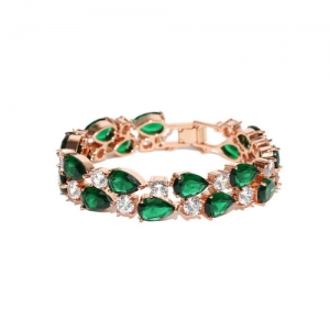 Jewels Galaxy Gold-Toned & Green Rose Gold-Plated Handcrafted Link Bracelet