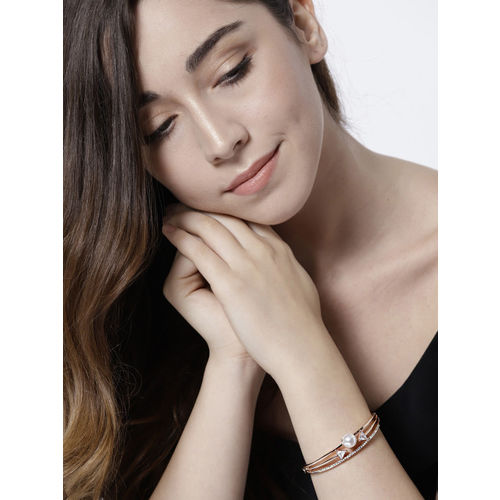 Jewels Galaxy Off-White Rose Gold-Plated Handcrafted Stone-Studded Bangle-Style Bracelet