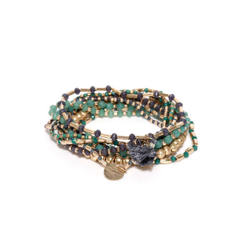 Accessorize Gold-Toned & Green Multistrand Bracelet