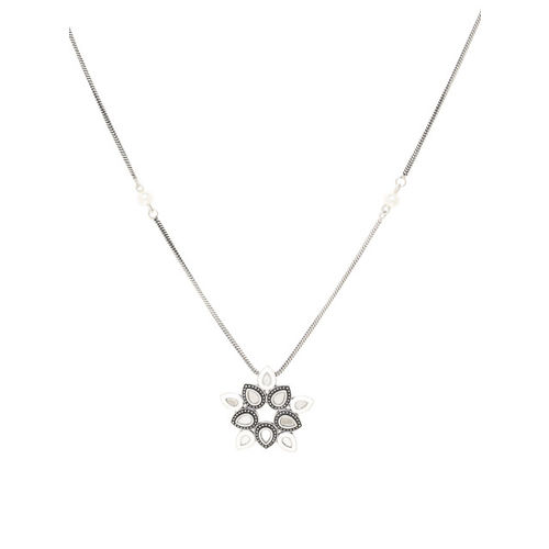 Studio Voylla Women Oxidised Silver-Plated Pendant With Chain