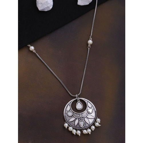 Studio Voylla Women Oxidised Silver-Plated & White Embellished Pendant With Chain