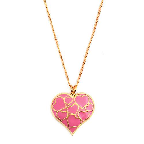 Loupe Women Gold-Toned & Pink Heart Shaped Pendant LEL17BPD02