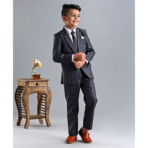 Babyhug 3 Piece Full Sleeves Party Suit - Grey