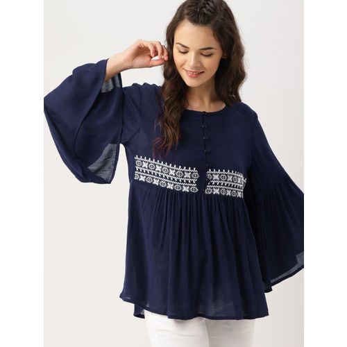 DressBerry DresssBerry Navy Blue Embroidered Top