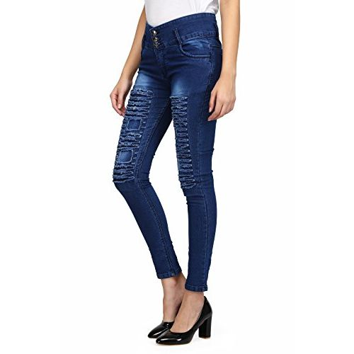 Miss Wow Fashionable Rugged trandy Skinny high Weist Casual Ankle Length Denim Jeans/Pant for Women/Girls with mid Rinse 2 Button,5 Pockets