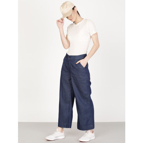 ether women Blue Flared Mid Rise Clean Look Leans