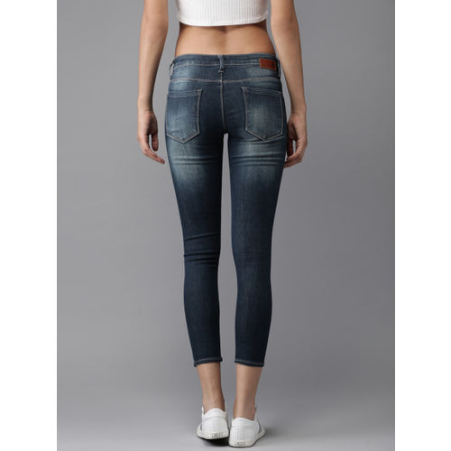HERE&NOW Women Blue Cropped Skinny Fit Mid-Rise Clean Look Stretchable Jeans