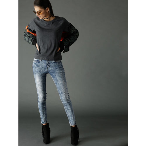 Roadster Women Blue Skinny Fit Mid-Rise Acid Washed Clean Look Stretchable Cropped Jeans