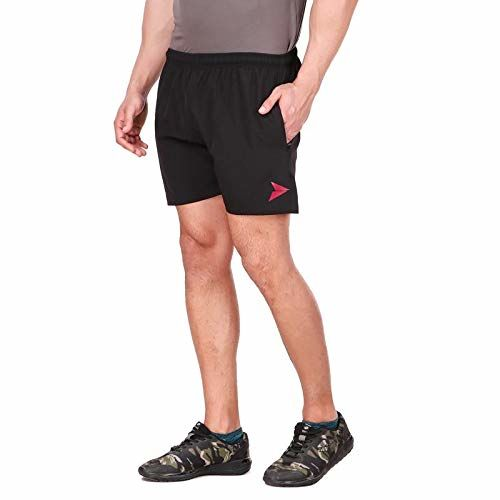 Fitinc N.S Lycra Gym Shorts for Men with Both Side Safety Zippered Pockets, Elastic Waistband & Adjustable Drawstrings - Fitness Shorts for Workout and Casual Wear