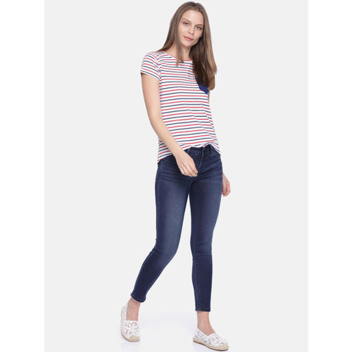 Pepe Jeans Women Blue Jegging Super Skinny Fit Mid-Rise Stretchable Cropped Jeans