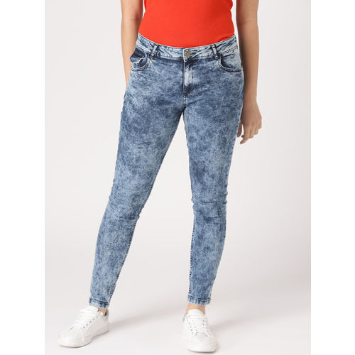 DressBerry Women Blue Skinny Fit Mid-Rise Acid-Wash Clean Look Stretchable Jeans