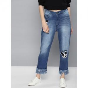 Kook N Keech Disney Women Blue Boyfriend Fit Mid-Rise Clean Look Stretchable Cropped Jeans