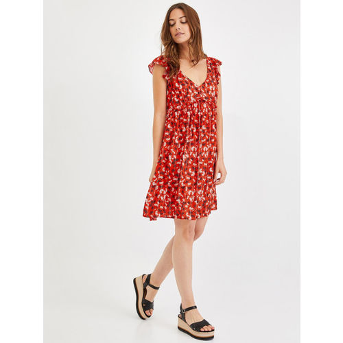 promod Women Red & White Printed Fit and Flare Dress