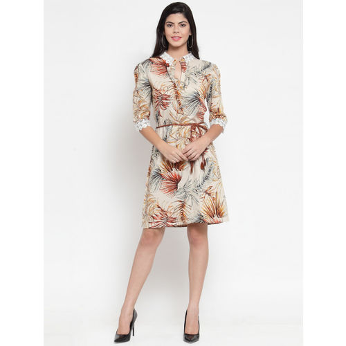 Just Wow Women Cream-Coloured & Brown Printed A-Line Dress
