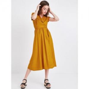 promod Women Mustard Yellow Wrap Dress
