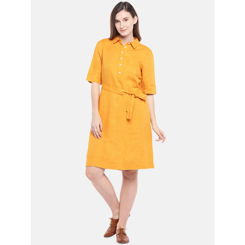 United Colors of Benetton Women Yellow Shirt Dress