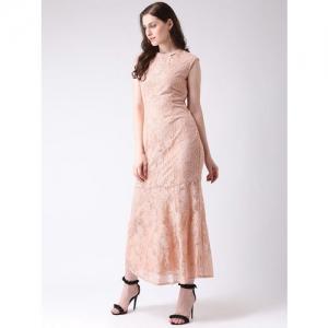 Latin Quarters Women Peach-Coloured Drop-Waist Dress