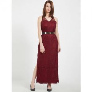 109F Women Maroon Lace Maxi Dress