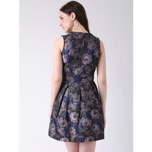 Latin Quarters Women Blue & Mauve Printed Fit and Flare Dress