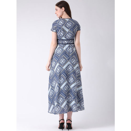 Latin Quarters Women Blue Fit and Flare Dress
