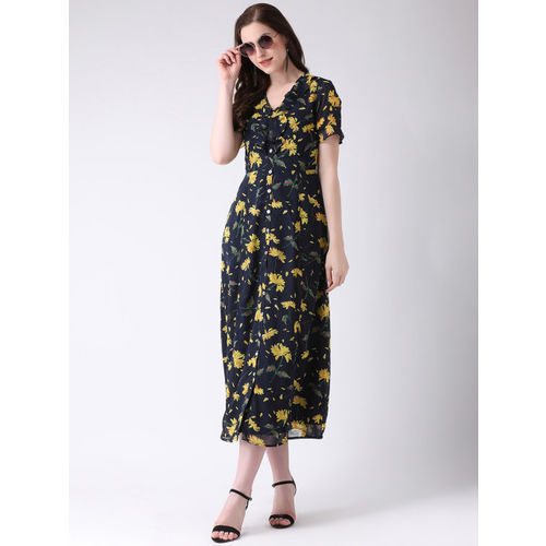 Latin Quarters Women Blue & Yellow Printed Fit and Flare Dress