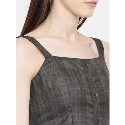 Moda Rapido Women Grey & Teal A-Line Dress