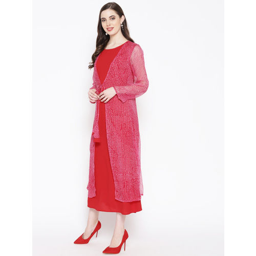 Zuziz Women Red & Pink Printed Layered A-Line Dress