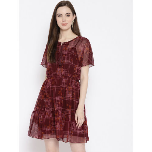 all about you Women Burgundy & Pink Checked Fit and Flare Dress