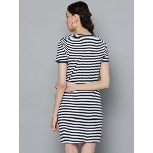 STREET 9 Women Navy Blue & White Striped T-shirt Dress