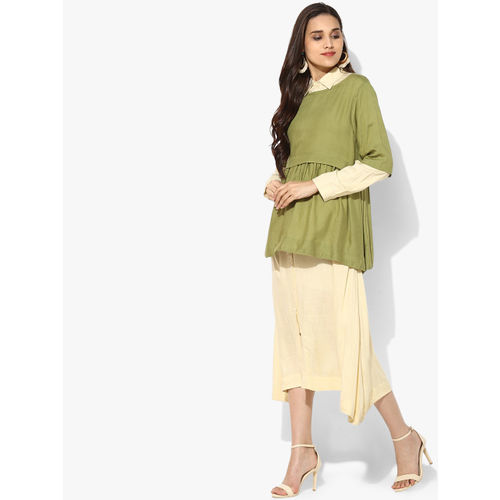 Sangria Women Cream-Coloured & Green Shirt Dress with Solid Layer