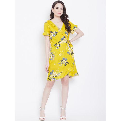 DODO & MOA Women Mustard Yellow & Blue Printed Wrap Dress