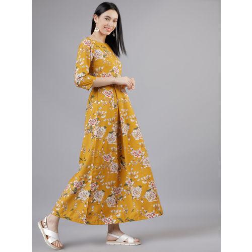Tokyo Talkies Women Mustard Maxi Dress