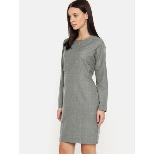 Moda Rapido Women Grey Self Design Sheath Dress